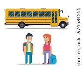 children get on school bus.... | Shutterstock .eps vector #674584255