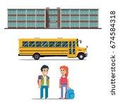 school bus and schoolchild... | Shutterstock .eps vector #674584318