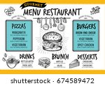 food menu for restaurant and... | Shutterstock .eps vector #674589472