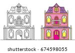 coloring pages for kids. pretty ... | Shutterstock .eps vector #674598055