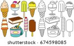 ice creams vector. hand drawn... | Shutterstock .eps vector #674598085