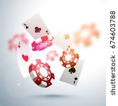 3d falling poker chips and... | Shutterstock .eps vector #674603788