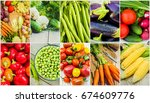 collage of different vegetables.... | Shutterstock . vector #674609776