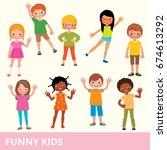 set of children of different... | Shutterstock .eps vector #674613292