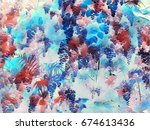 summer foliage with colorful... | Shutterstock . vector #674613436