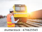 train engineer working at... | Shutterstock . vector #674625565