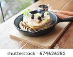 delicious pancakes topping with ... | Shutterstock . vector #674626282