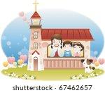 jesus christ and the children | Shutterstock .eps vector #67462657