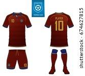 set of short sleeve soccer... | Shutterstock .eps vector #674627815