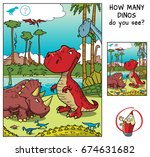 how many dinosaurs do you see ... | Shutterstock .eps vector #674631682