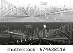 pedestrian and railway bridges... | Shutterstock .eps vector #674638516