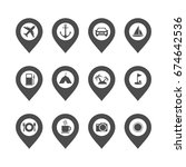 travel icon set vector template | Shutterstock .eps vector #674642536