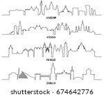 line art  warsaw  vienna ... | Shutterstock .eps vector #674642776