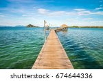 beautiful pavilion in tropical... | Shutterstock . vector #674644336