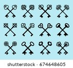old key set isolated on blue... | Shutterstock .eps vector #674648605