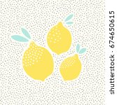 cute card design with lemons in ... | Shutterstock .eps vector #674650615