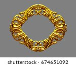 golden  ornamental frame  3d... | Shutterstock . vector #674651092