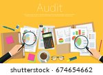 auditor at table during... | Shutterstock .eps vector #674654662