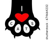 I Love Cats Text. Big Black Ca...