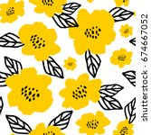 Stock vector seamless repeat pattern with flowers and leaves in black and yellow on white background hand drawn 674667052