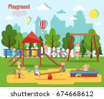 children's playground vector... | Shutterstock .eps vector #674668612
