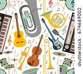 musical seamless pattern made... | Shutterstock .eps vector #674669002