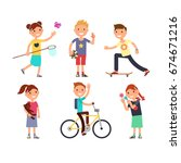 playing children with toys.... | Shutterstock .eps vector #674671216