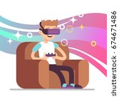 virtual reality gaming vector... | Shutterstock .eps vector #674671486