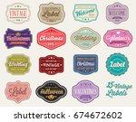 raster set of vintage retro...   Shutterstock . vector #674672602