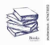 stack of books  hand drawn... | Shutterstock .eps vector #674673052