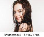 wet hair woman portrait  beauty ... | Shutterstock . vector #674674786
