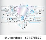 abstract circuit communication... | Shutterstock .eps vector #674675812