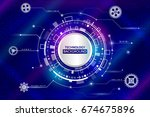 abstract digital technology and ... | Shutterstock .eps vector #674675896