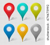 set of mapping pins icon | Shutterstock . vector #674675992
