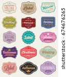 raster set of vintage retro...   Shutterstock . vector #674676265