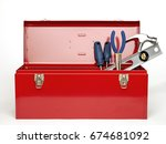 Red Tool Box Isolated On White...