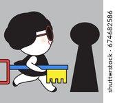 business woman hand holding key ... | Shutterstock .eps vector #674682586