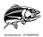 salmon fish.vintage salmon... | Shutterstock .eps vector #674684506