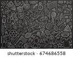 chalkboard vector hand drawn... | Shutterstock .eps vector #674686558