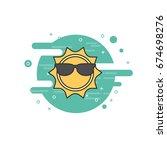 sun with sunglasses vector flat ... | Shutterstock .eps vector #674698276