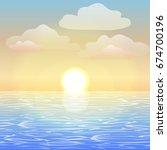 the sea at dawn. sea vector... | Shutterstock .eps vector #674700196