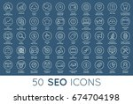 set of raster seo search engine ... | Shutterstock . vector #674704198