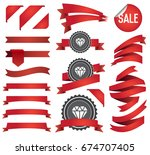 big set of ribbons and labels... | Shutterstock . vector #674707405