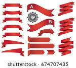big set of ribbons and labels... | Shutterstock . vector #674707435
