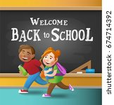 welcome back to school. cute... | Shutterstock .eps vector #674714392