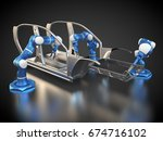 3d rendering  car frame and... | Shutterstock . vector #674716102