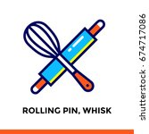 linear icon rolling pin  whisk... | Shutterstock .eps vector #674717086