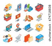 online shopping isometric icons ... | Shutterstock .eps vector #674718838