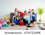 two sisters creating chaos | Shutterstock . vector #674722498