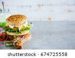 vegetarian carrot and oats... | Shutterstock . vector #674725558
